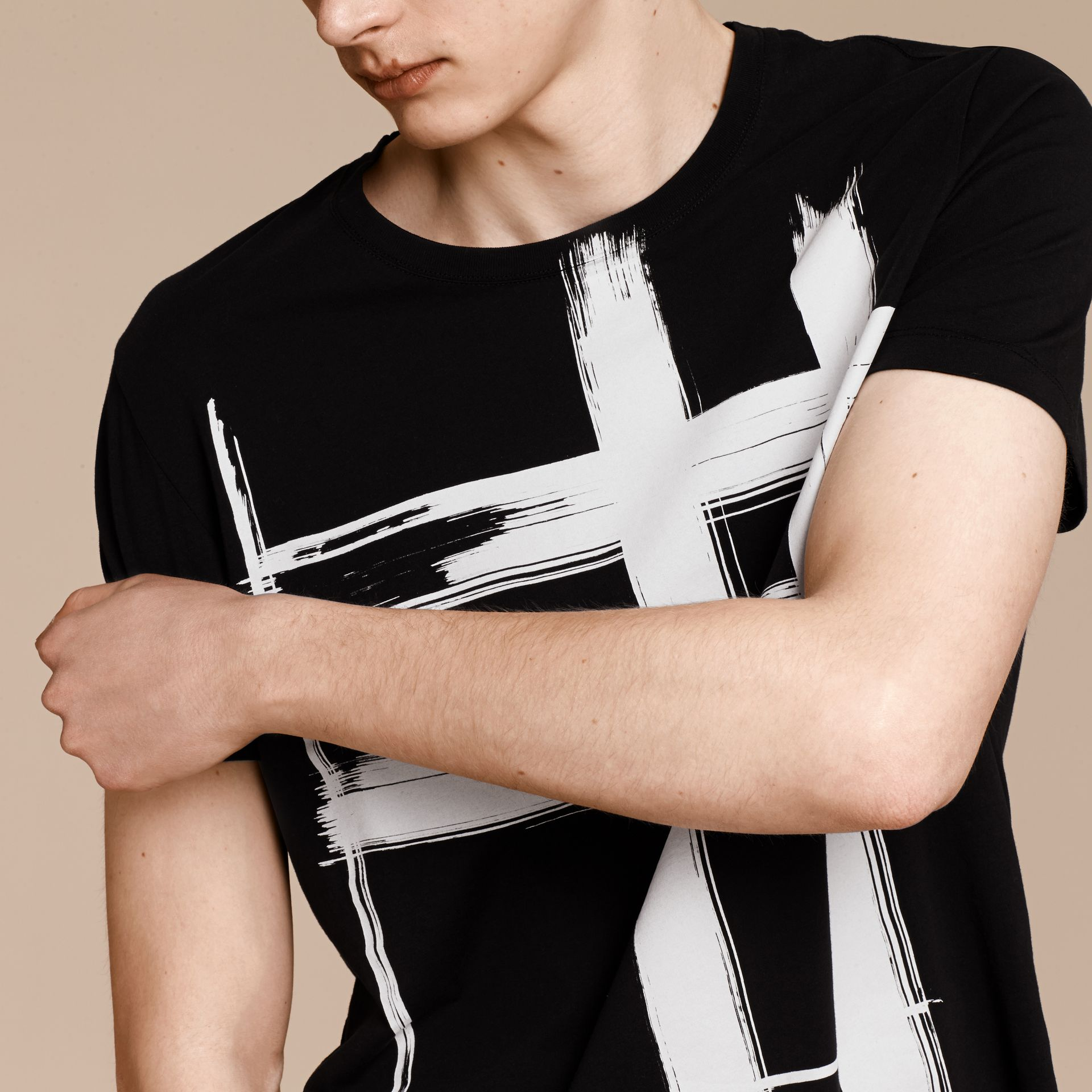 Black Brushstroke Check Print Cotton T-Shirt Black - gallery image 5