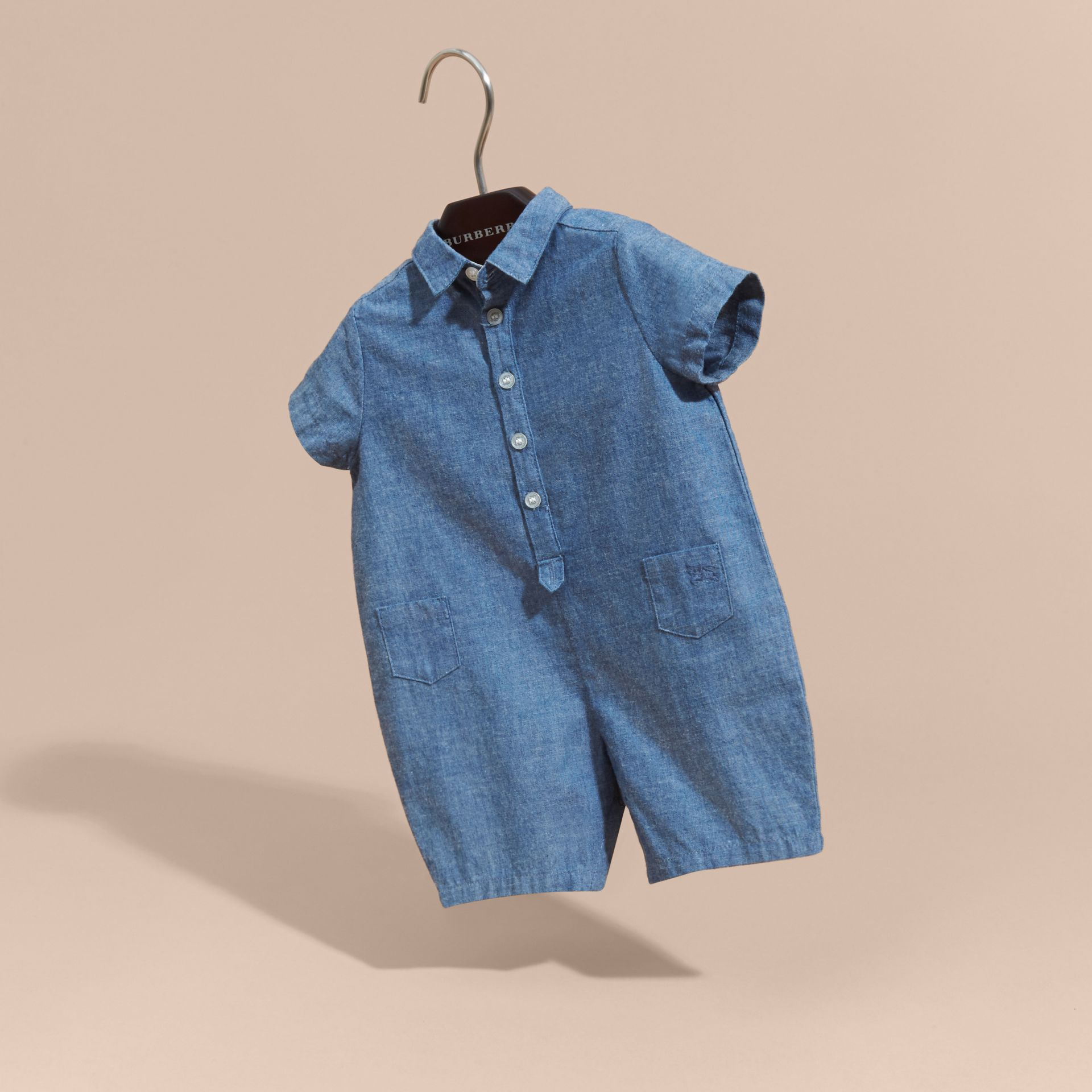 Buttoned Cotton Chambray Playsuit - gallery image 3