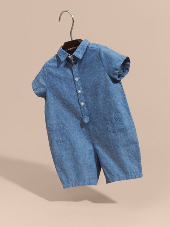 Stone blue Buttoned Cotton Chambray Playsuit - cell image 2
