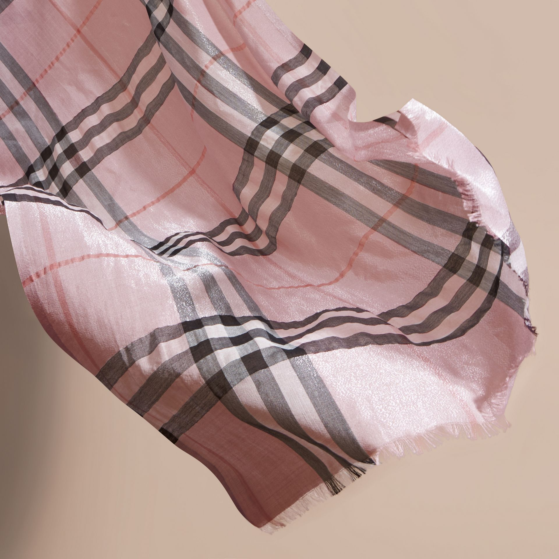 Metallic Check Silk and Wool Scarf Ash Rose/silver - gallery image 4