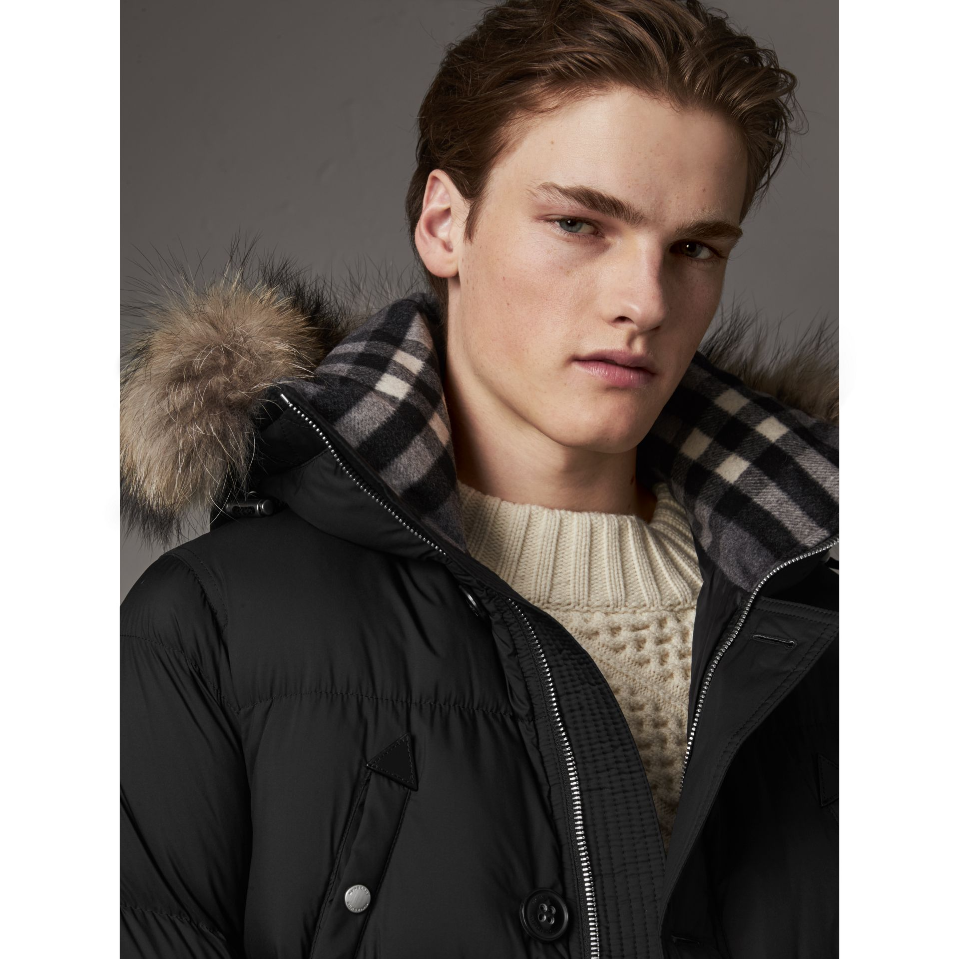 Detachable Raccoon Fur Trim Hood Down-filled Parka in Black - Men | Burberry - gallery image 2