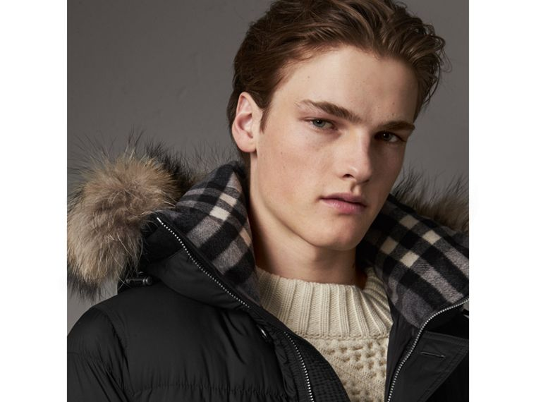 Detachable Raccoon Fur Trim Hood Down-filled Parka in Black - Men | Burberry - cell image 1