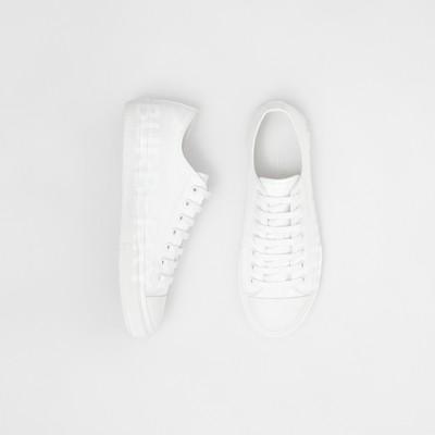 Logo Print Cotton Gabardine Sneakers
