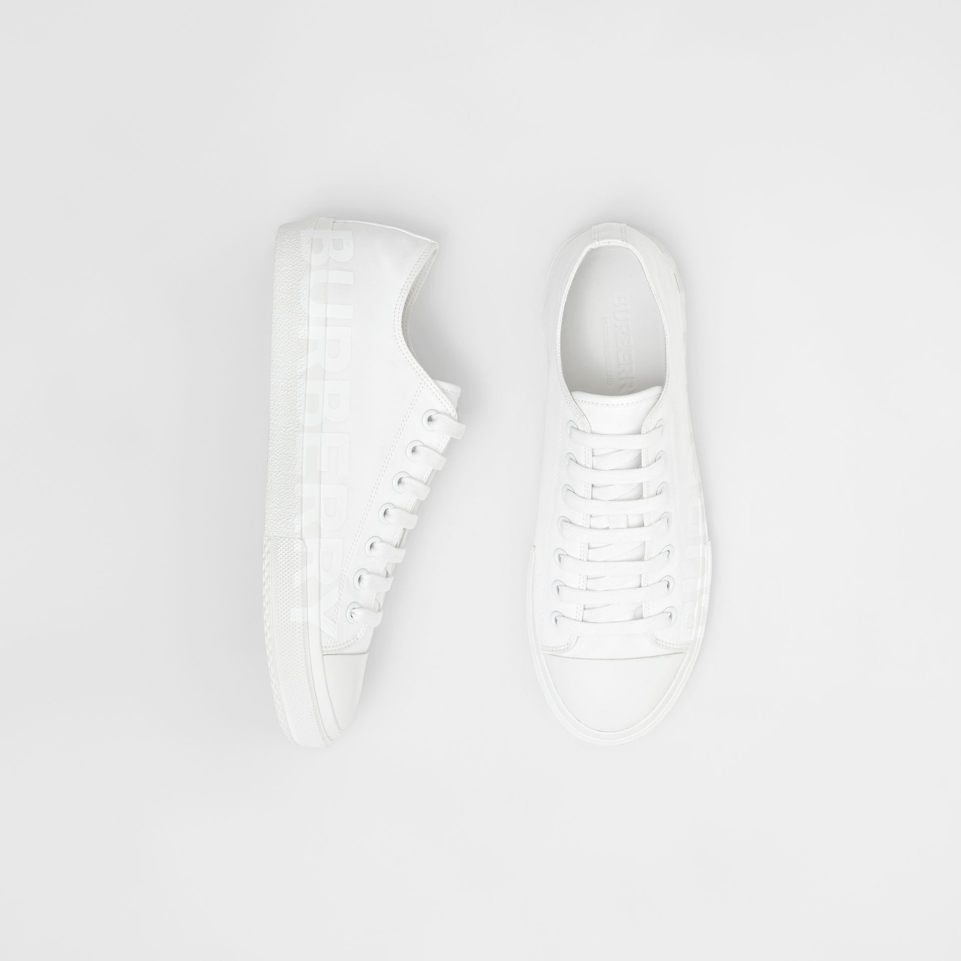 Men's Logo Print Cotton Gabardine Sneakers in Optic White - Men | Burberry - gallery image 0