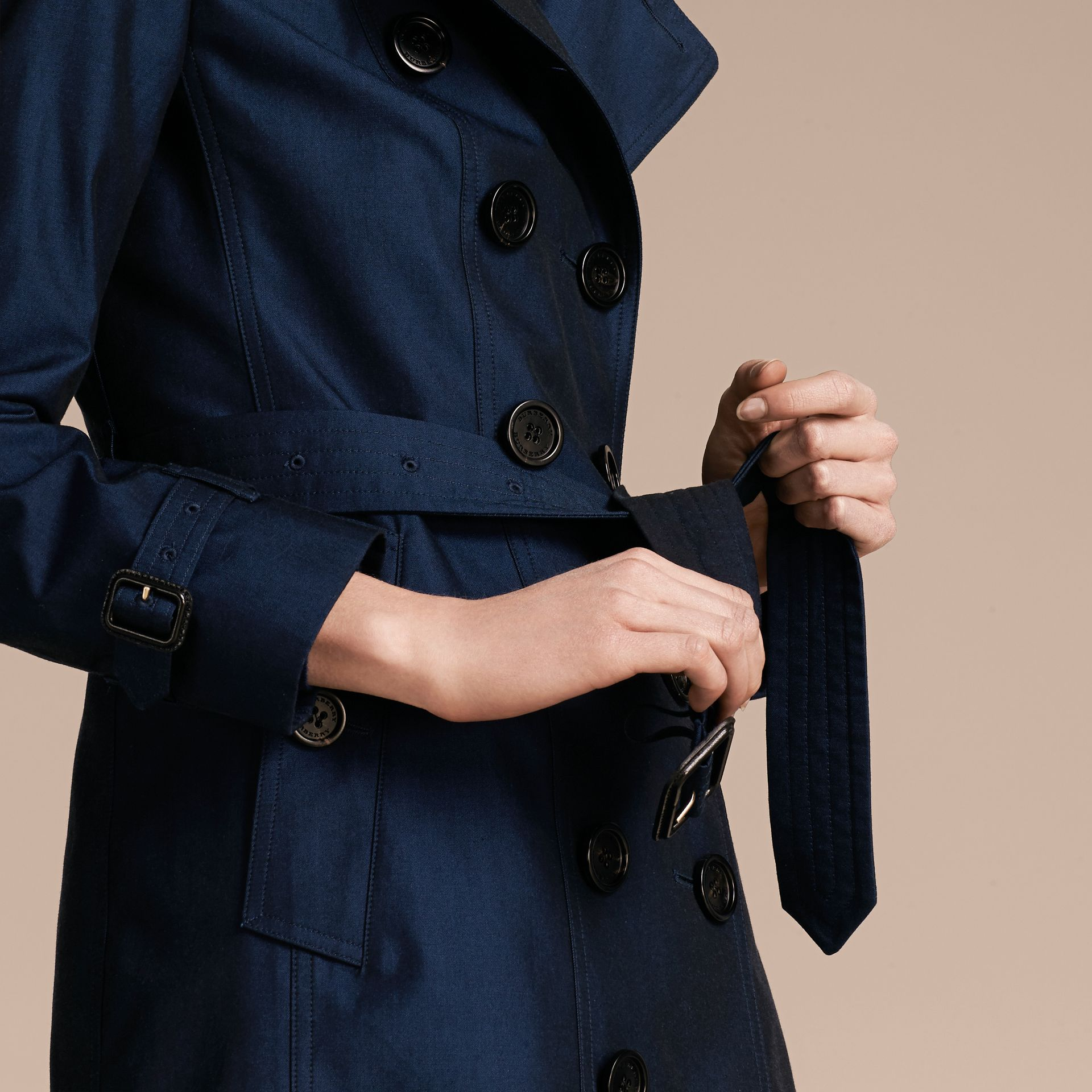 Bright regency blue Cotton Gabardine Trench Coat Bright Regency Blue - gallery image 6