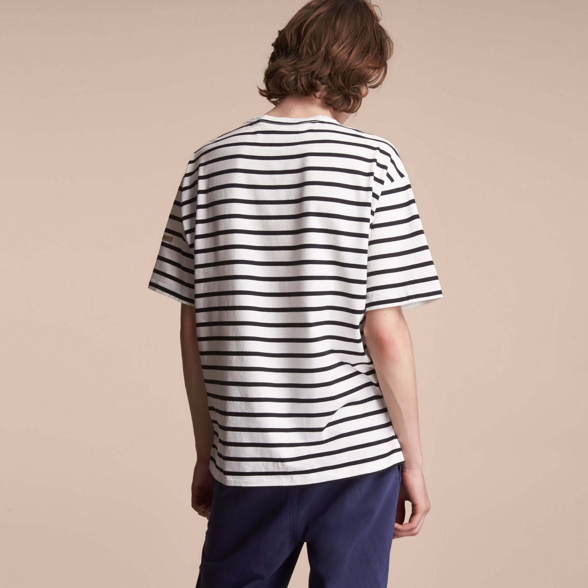 Striped Cotton Oversize T-shirt in White/black - Men | Burberry - gallery image 3