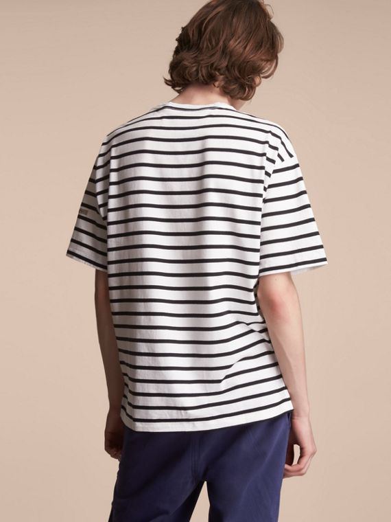 Striped Cotton Oversize T-shirt in White/black - Men | Burberry - cell image 2