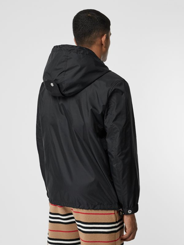Icon Stripe Detail Nylon Canvas Hooded Jacket in Black - Men | Burberry Australia - cell image 2