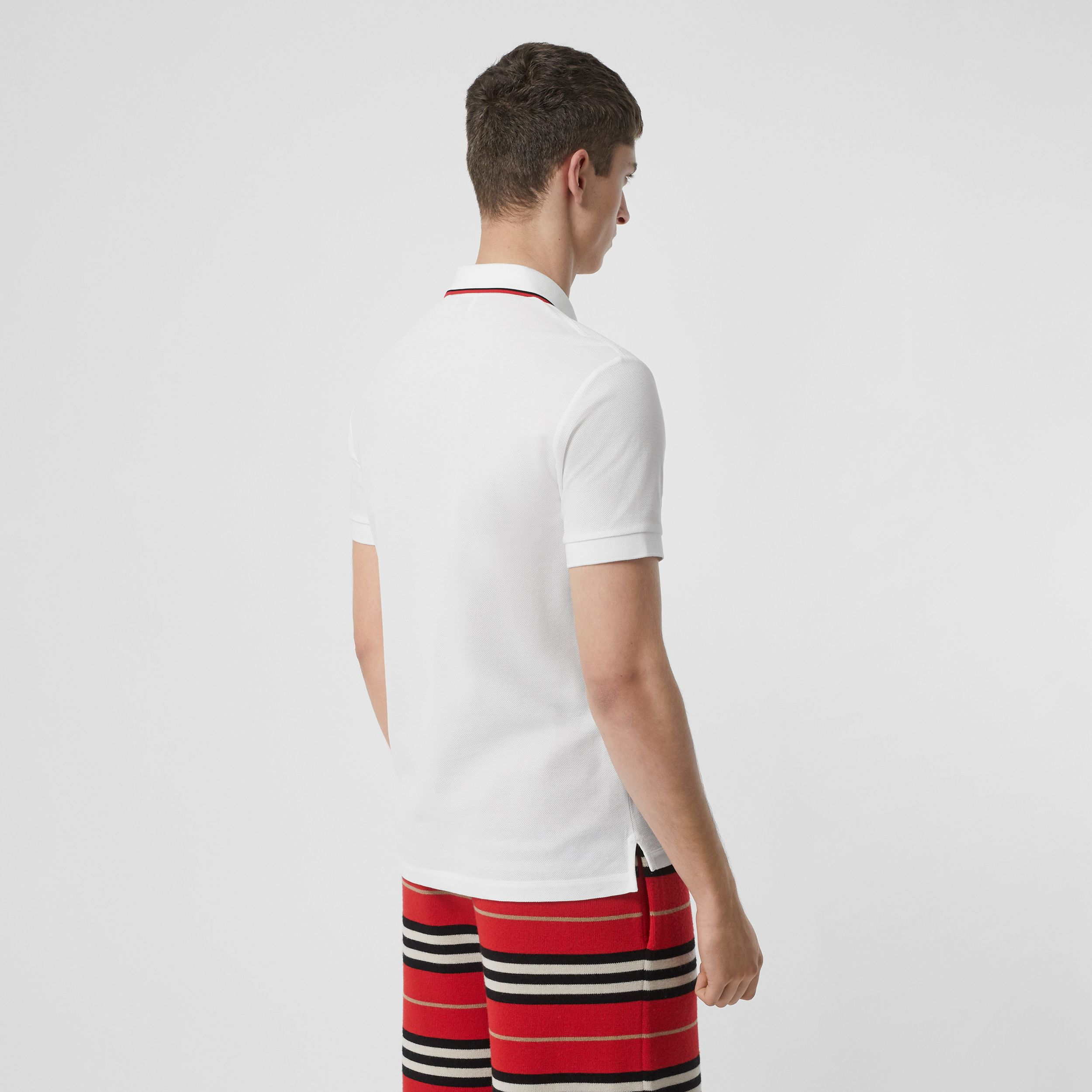 Icon Stripe Placket Cotton Piqué Polo Shirt in White - Men | Burberry - 3