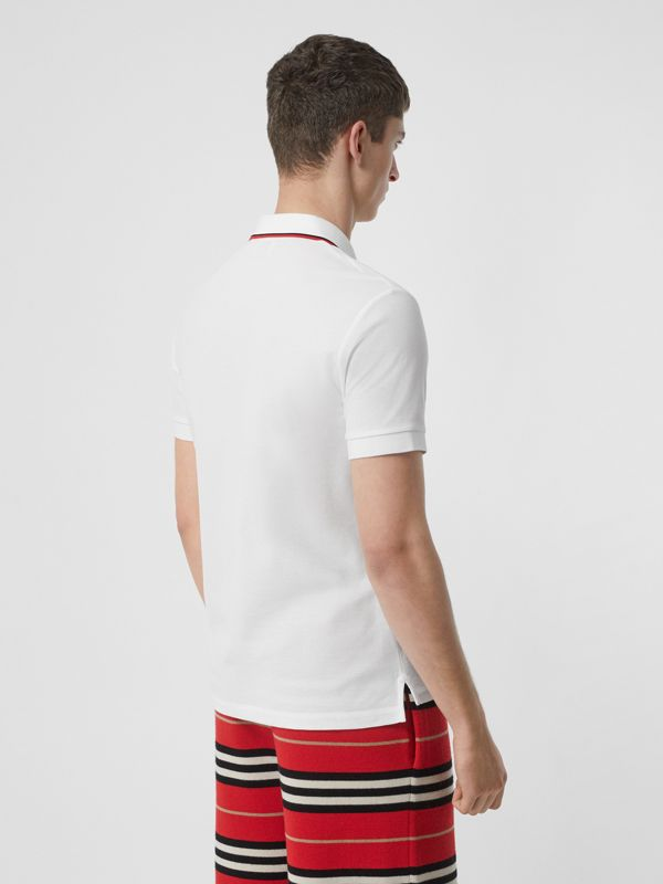 Icon Stripe Placket Cotton Piqué Polo Shirt in White - Men | Burberry United States - cell image 2