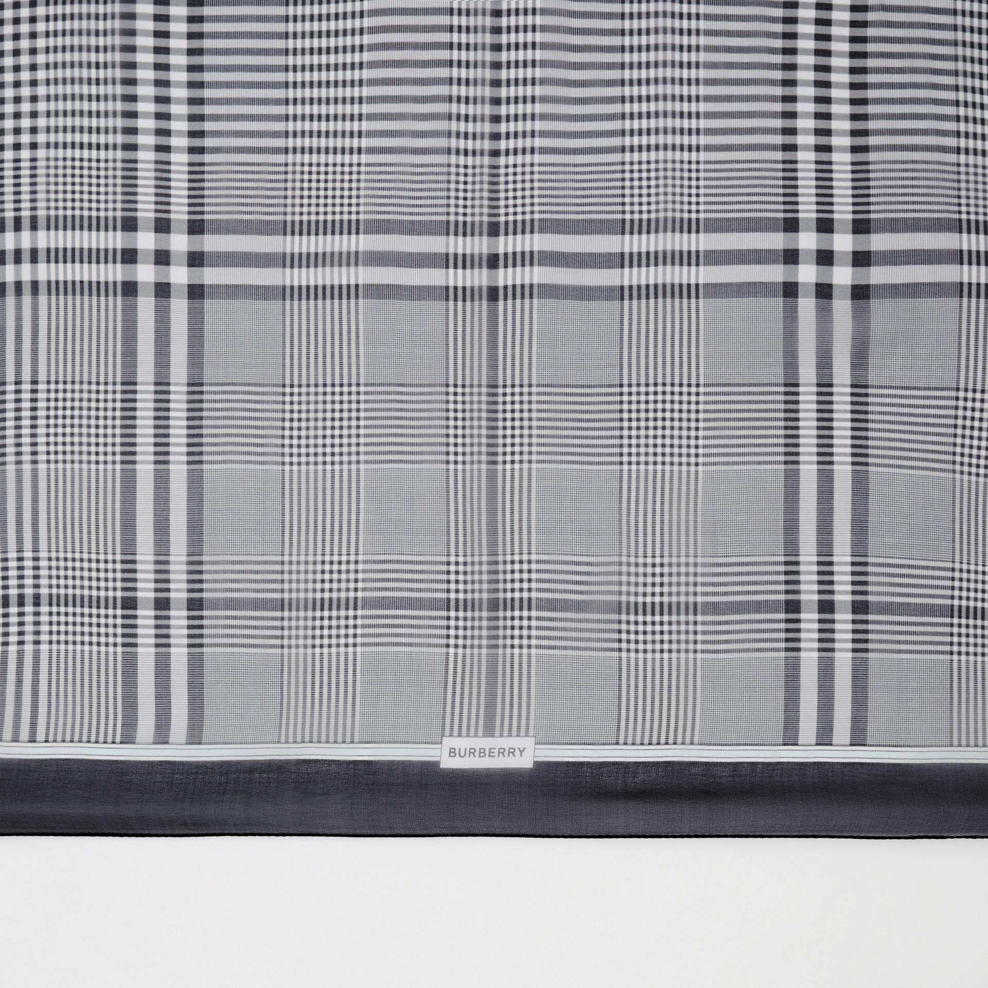 Check Print Silk Chiffon Scarf in Black/white | Burberry - gallery image 1