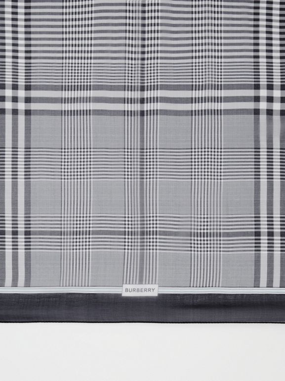 Check Print Silk Chiffon Scarf in Black/white | Burberry - cell image 1