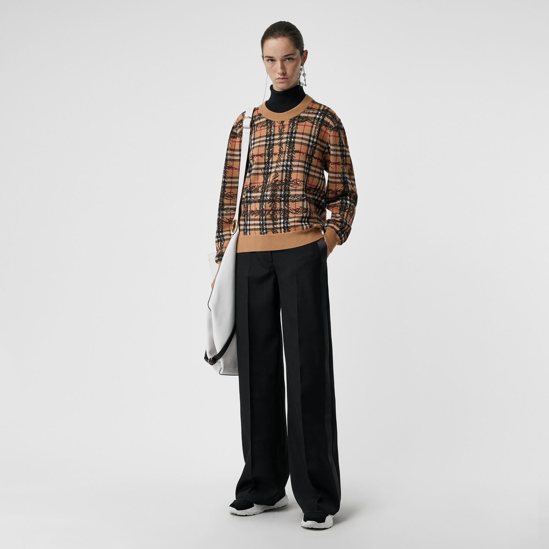Scribble Check Merino Wool Sweater in Camel/black - Women | Burberry - gallery image 0