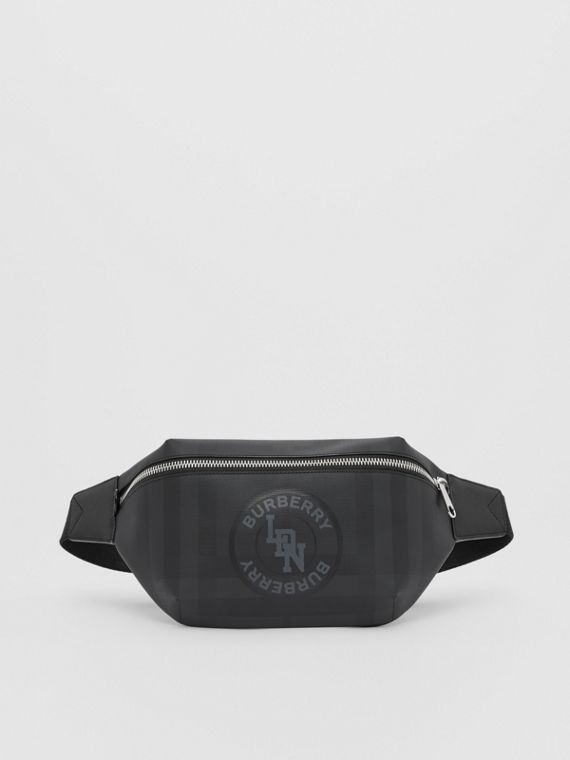 Logo Graphic London Check Sonny Bum Bag in Dark Charcoal