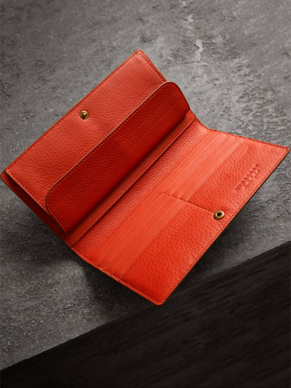 Embossed Leather Continental Wallet in Dark Clementine | Burberry - cell image 3