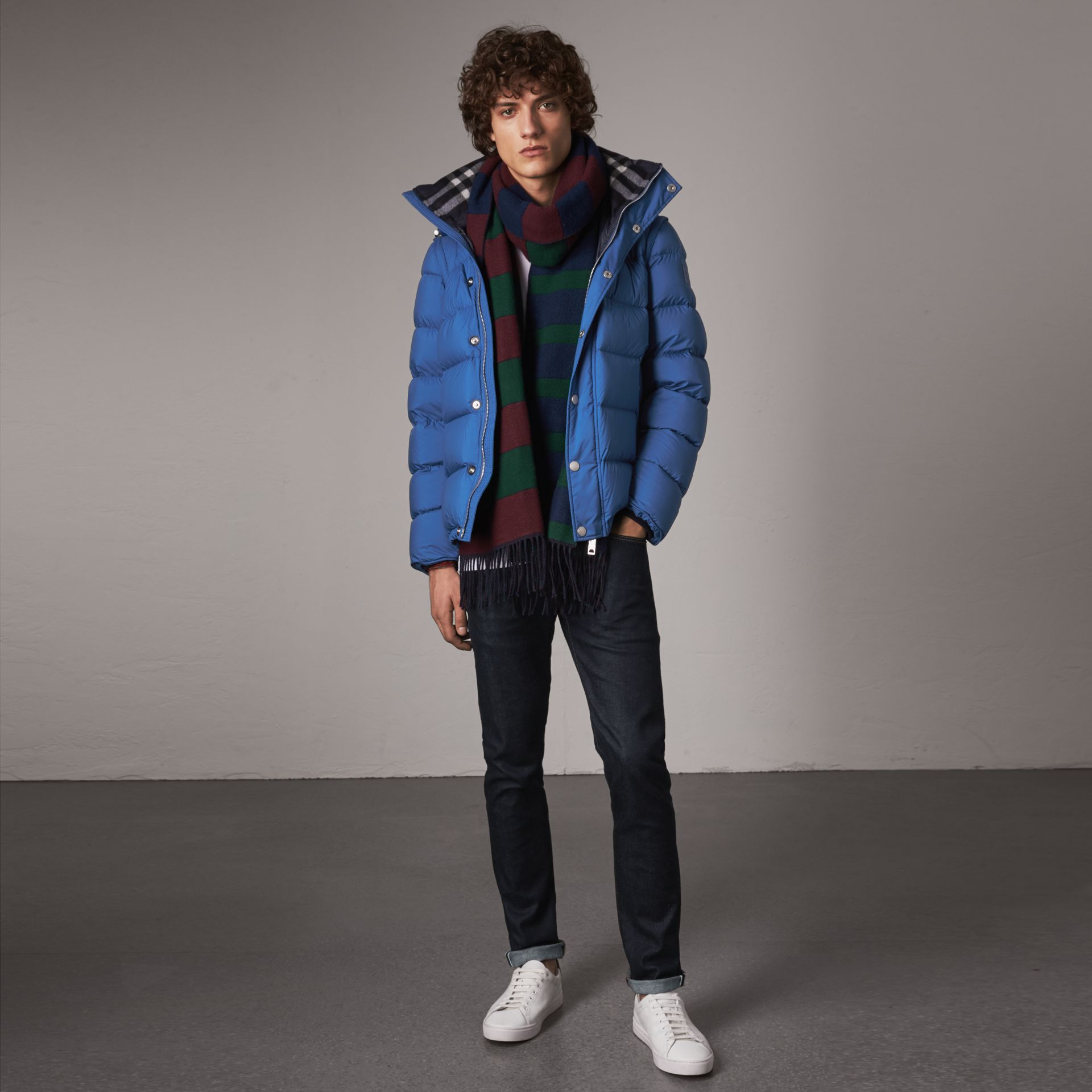 Detachable-sleeve Down-filled Puffer Jacket in Cerulean Blue - Men | Burberry United Kingdom - gallery image 0