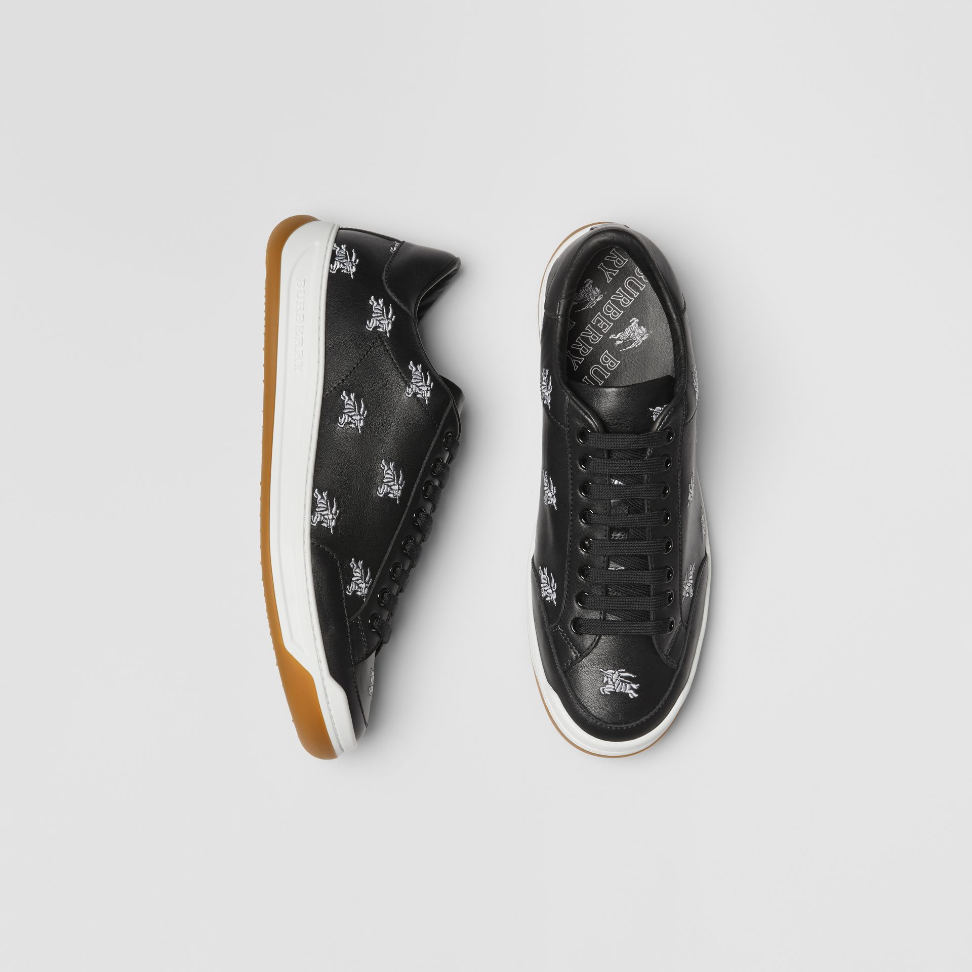 Logo Print Leather Sneakers in Black - Men | Burberry Canada - gallery image 0