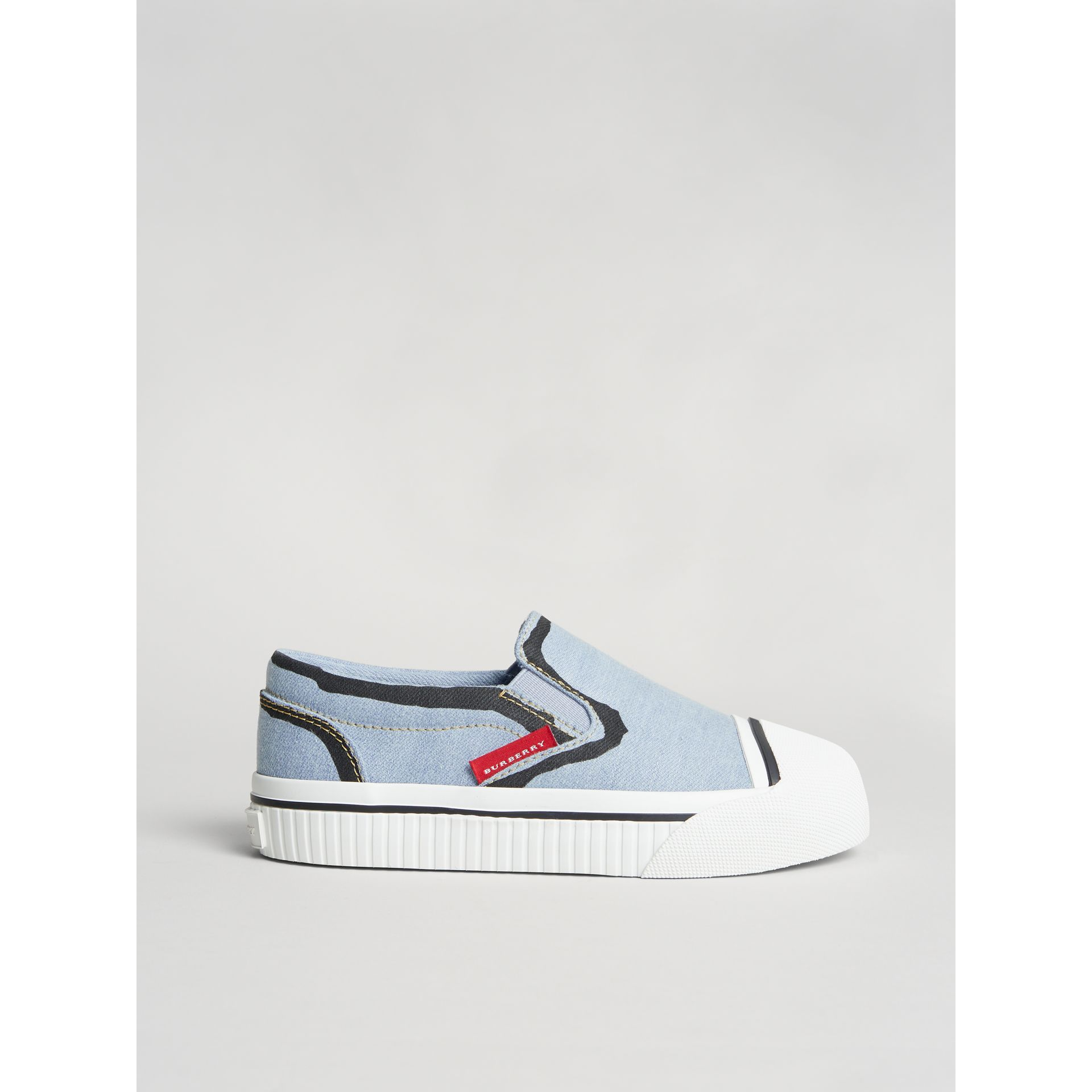 Scribble Print Slip-on Sneakers in Light Blue | Burberry United States - gallery image 3