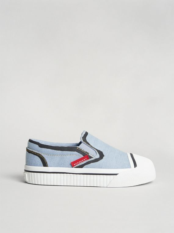 Scribble Print Slip-on Sneakers in Light Blue | Burberry United States - cell image 3