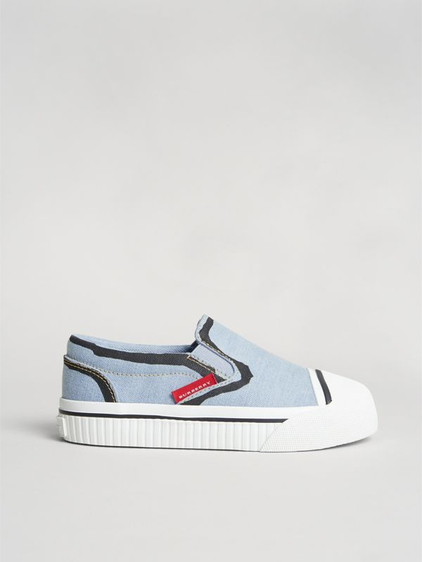 Scribble Print Slip-on Sneakers in Light Blue | Burberry - cell image 3