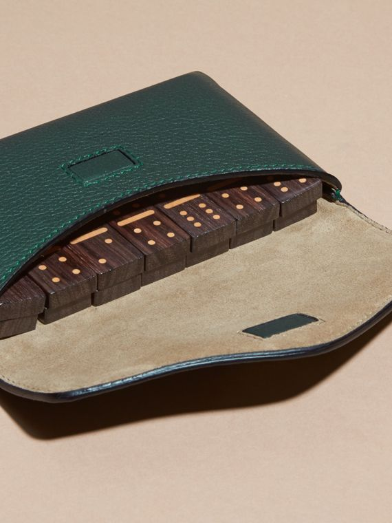 Wooden Domino Set with Grainy Leather Case Dark Forest Green - cell image 3
