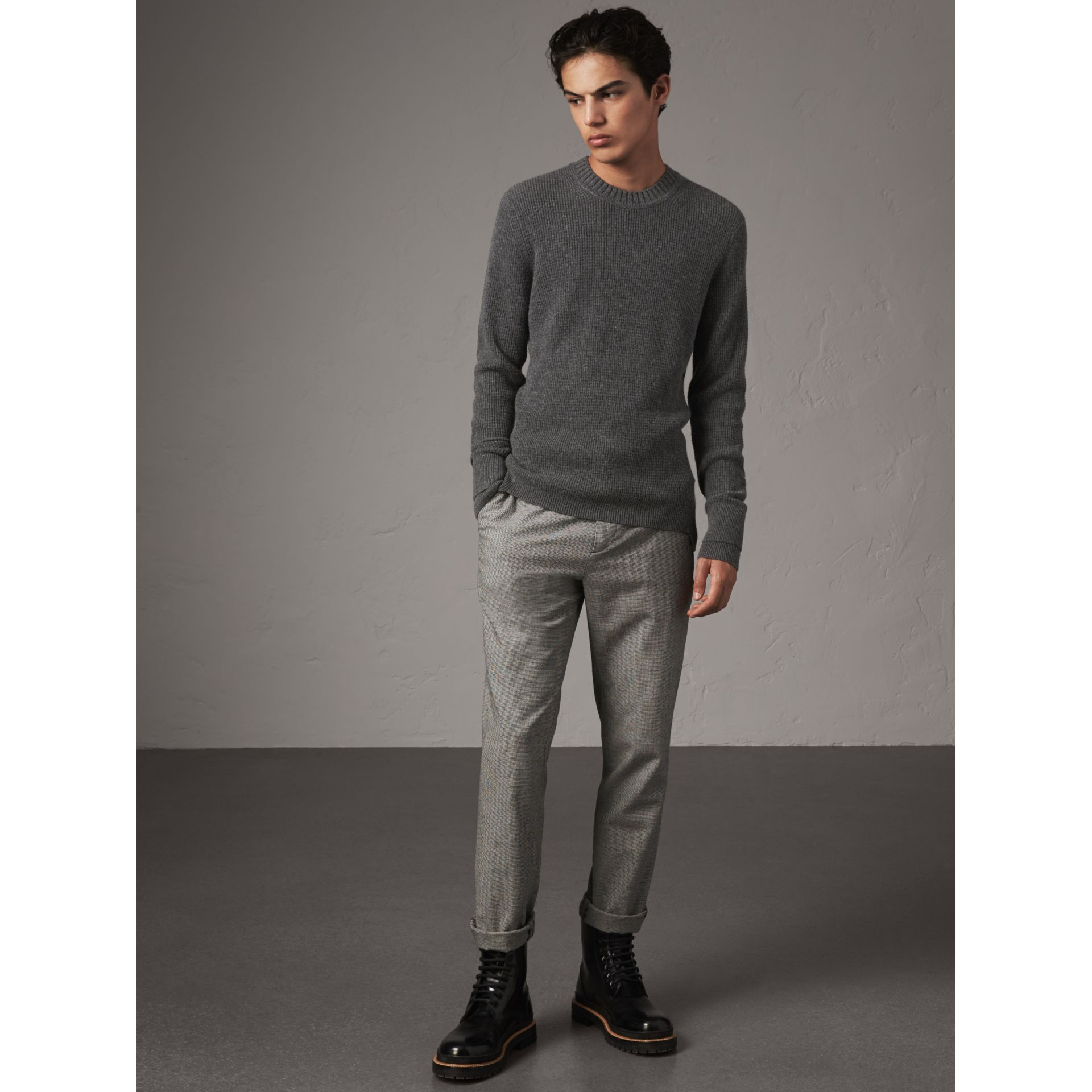 Waffle Knit Cashmere Sweater in Dark Grey Melange - Men | Burberry - gallery image 6