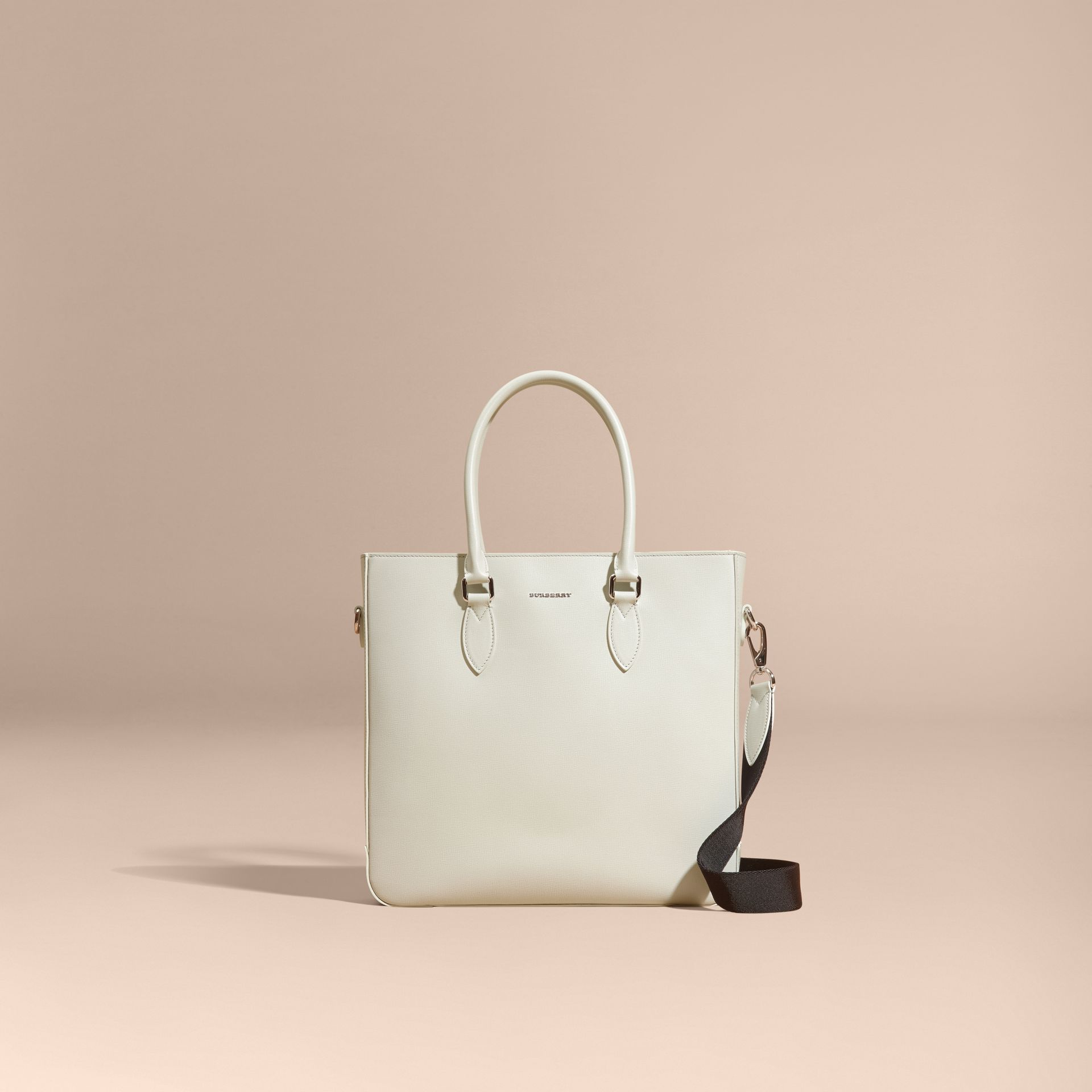 London Leather Tote Bag in Pale Stone - gallery image 9
