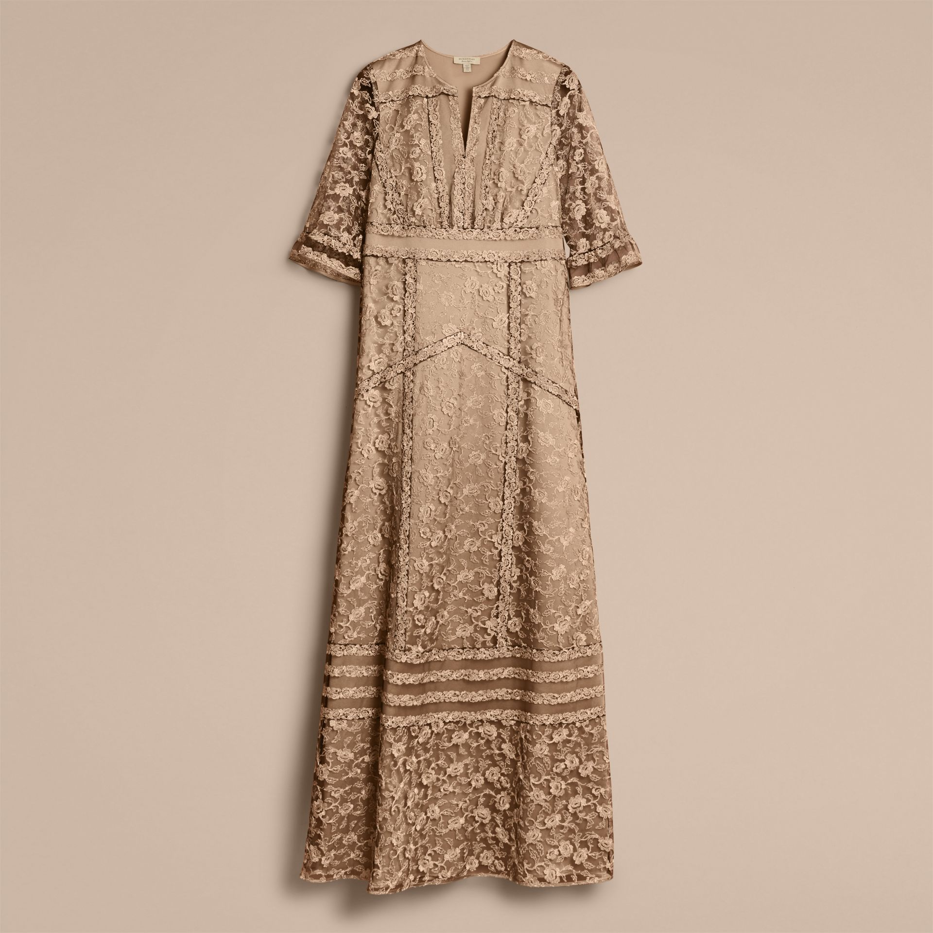 Floral Lace Tulle Dress in Gold - Women | Burberry - gallery image 4