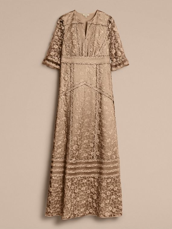 Floral Lace Tulle Dress in Gold - Women | Burberry - cell image 3