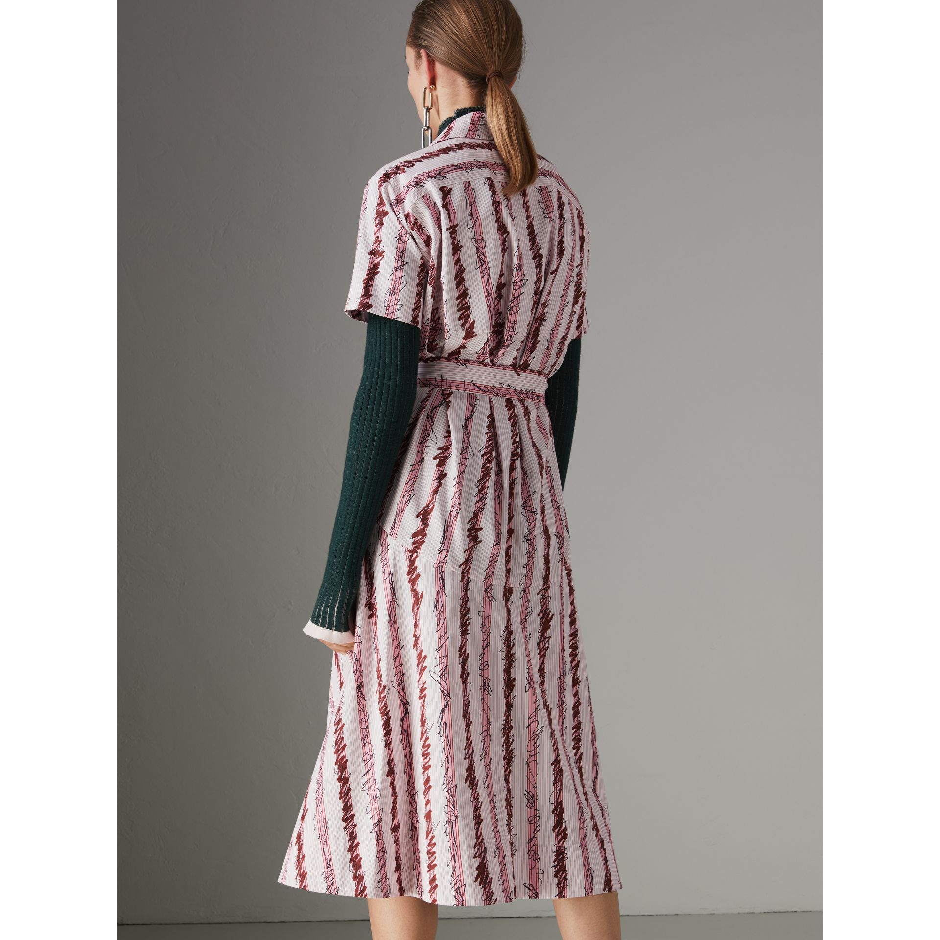 Scribble Stripe Cotton Shirt Dress in Light Pink - Women | Burberry Canada - gallery image 2