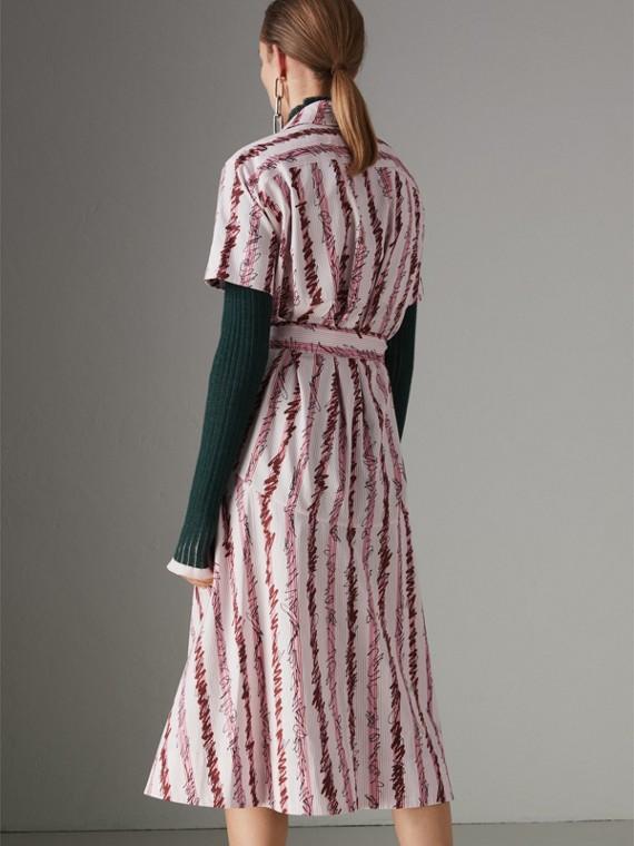 스크리블 스트라이프 코튼 셔츠 드레스 (라이트 핑크) - 여성 | Burberry - cell image 2