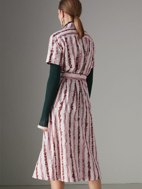 Scribble Stripe Cotton Shirt Dress in Light Pink - Women | Burberry - cell image 2