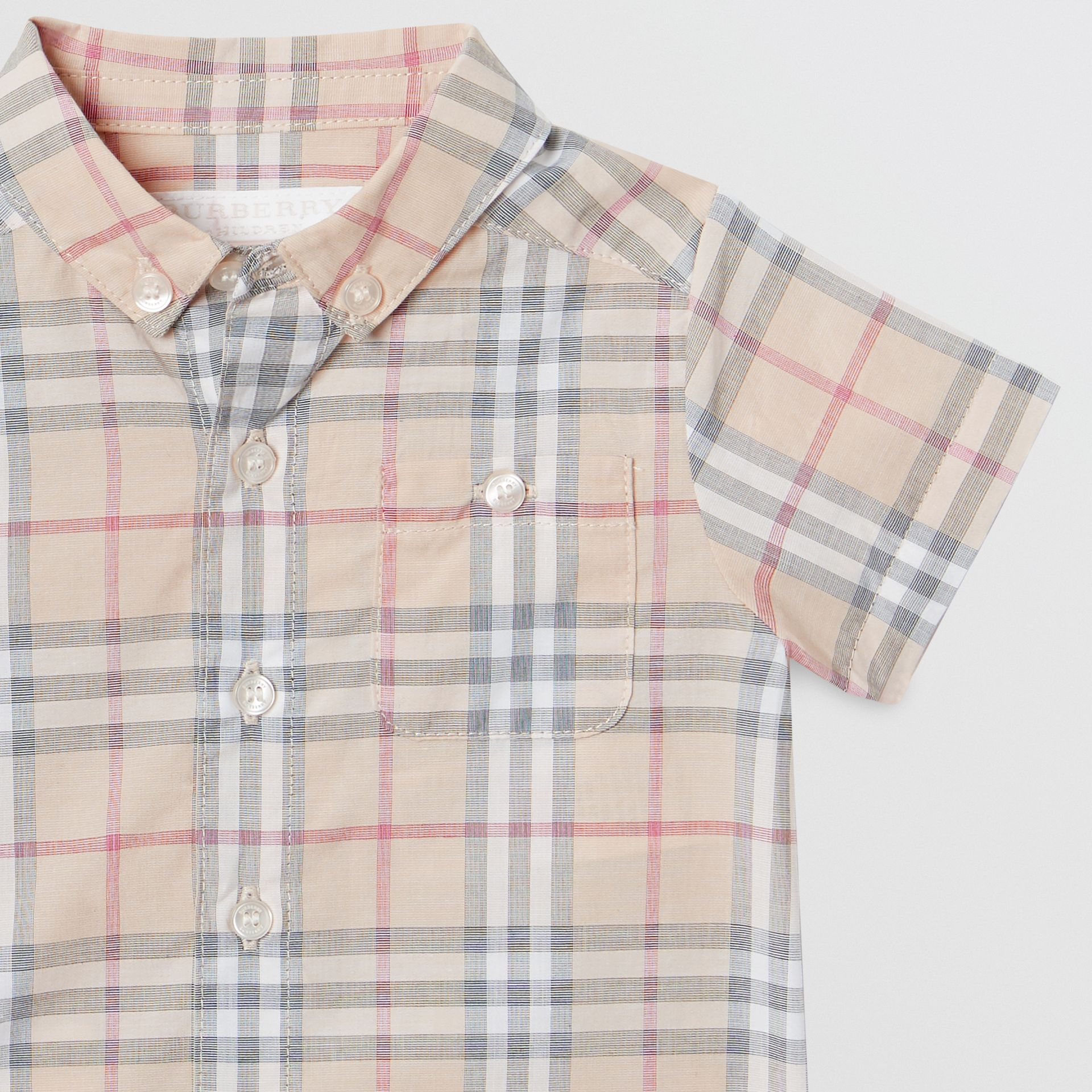 Button-down Collar Short-sleeve Check Cotton Shirt in Pale Stone - Children | Burberry Canada - gallery image 4