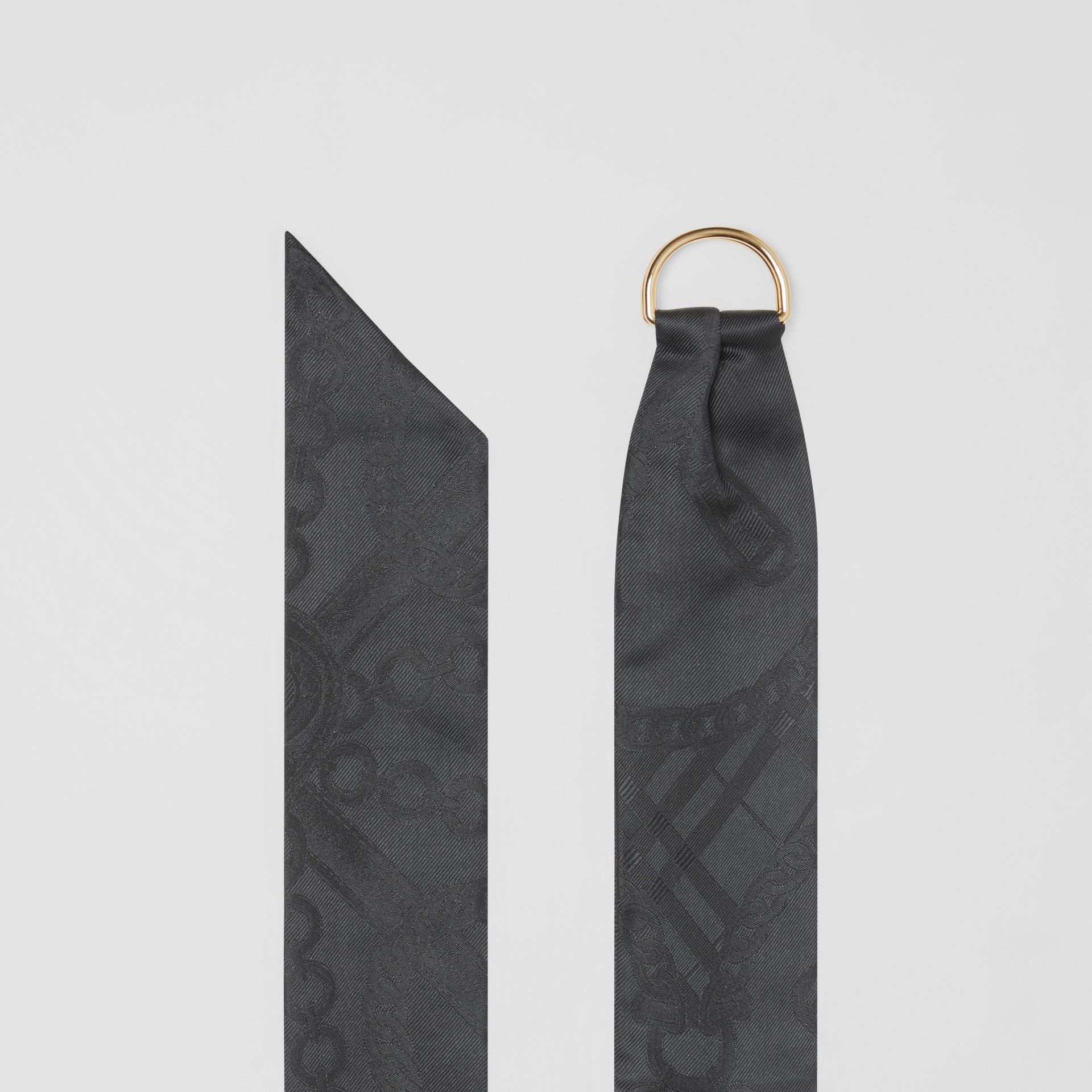 D-ring Detail Chain Silk Jacquard Skinny Scarf in Black | Burberry - gallery image 4