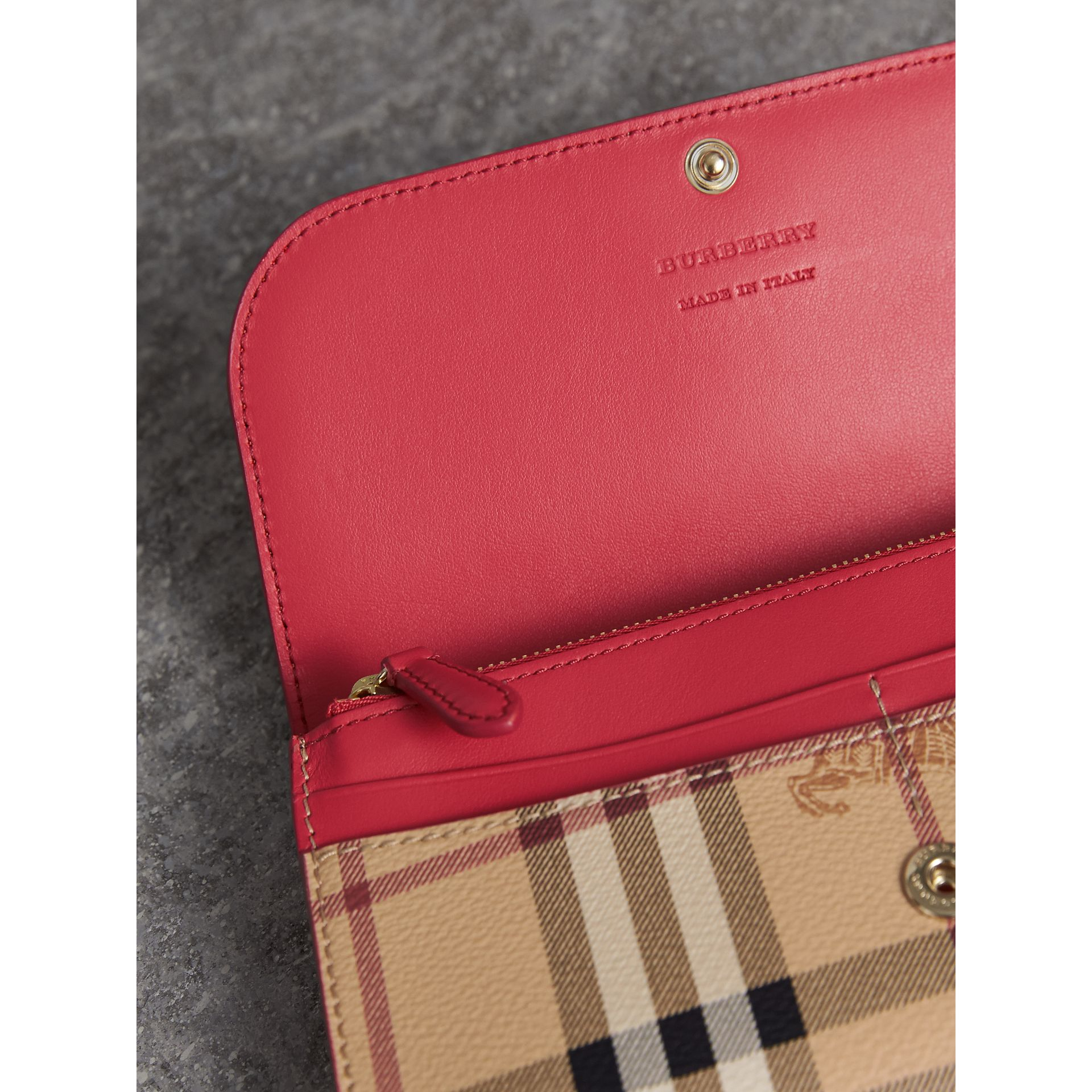 Haymarket Check and Leather Slim Continental Wallet in Coral Red - Women | Burberry - gallery image 3