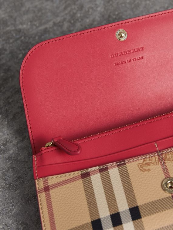 Haymarket Check and Leather Slim Continental Wallet in Coral Red - Women | Burberry Singapore - cell image 3