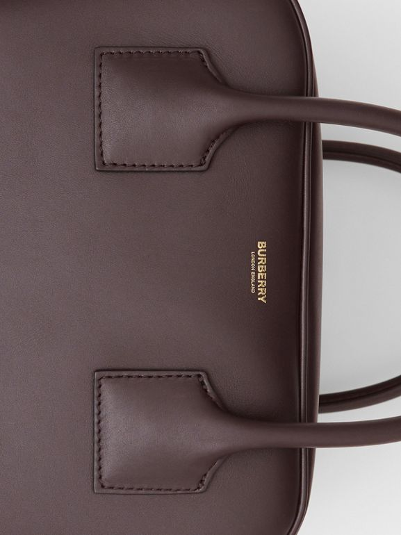Medium Stripe Intarsia Leather Cube Bag in Coffee/pumpkin - Women | Burberry - cell image 1