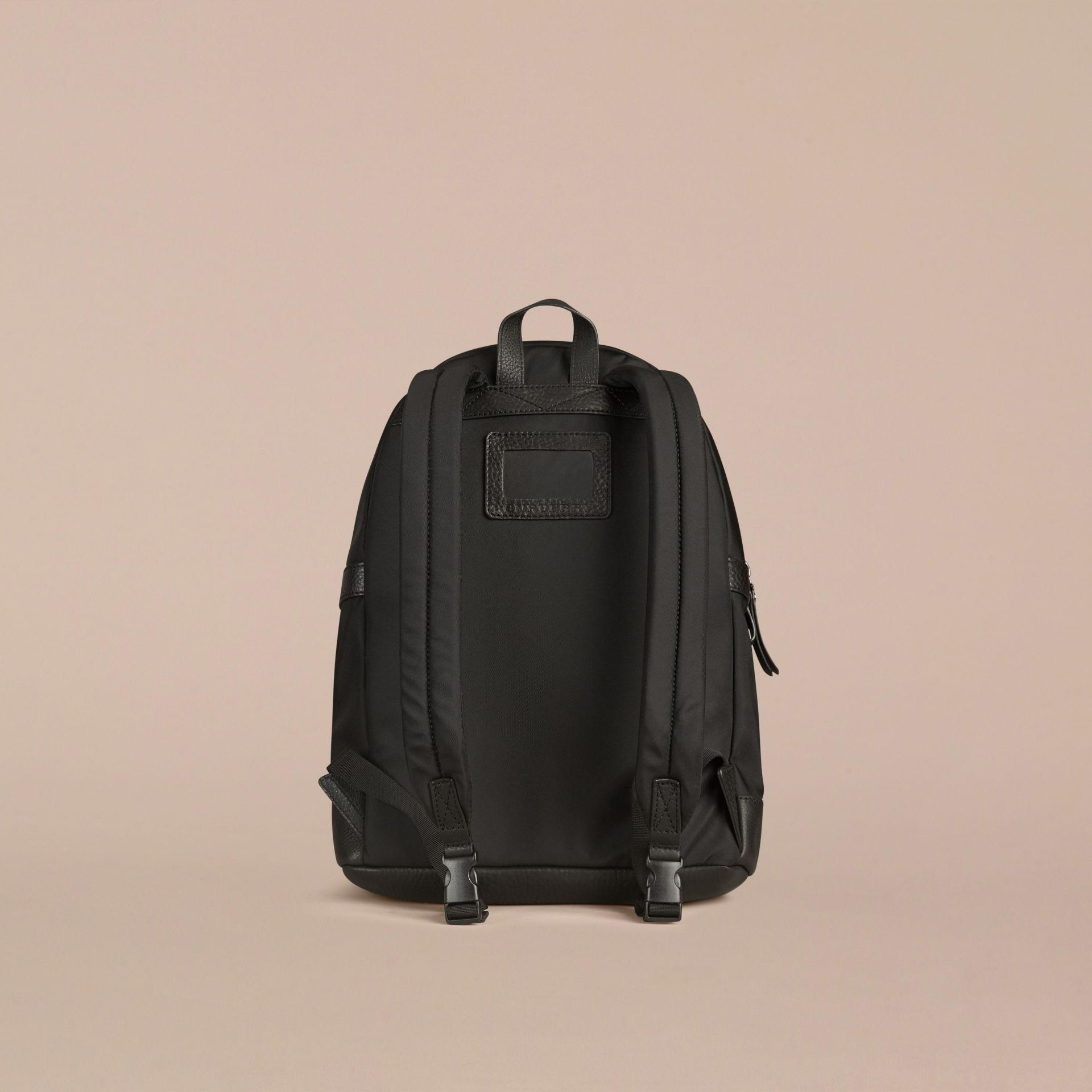 Black Leather Detail Nylon Backpack - gallery image 3