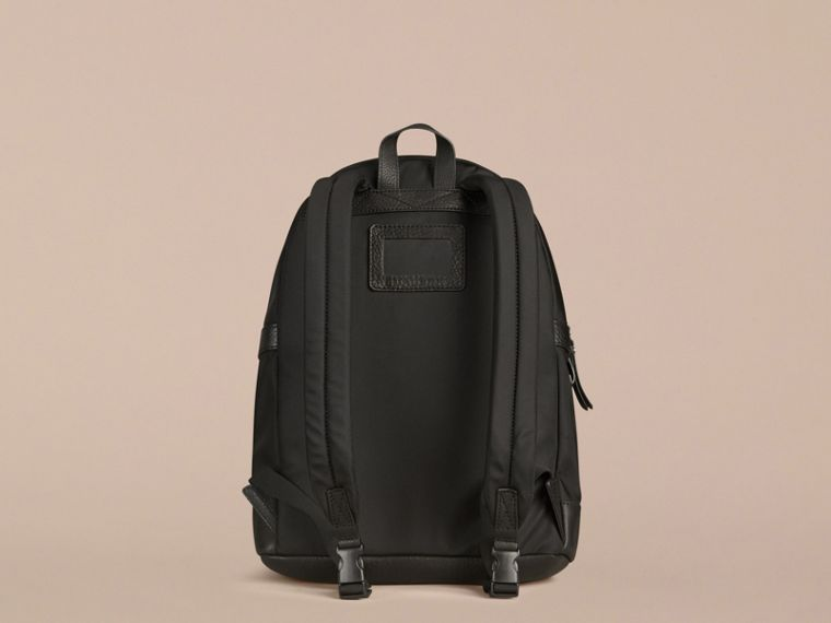 Black Leather Detail Nylon Backpack - cell image 2