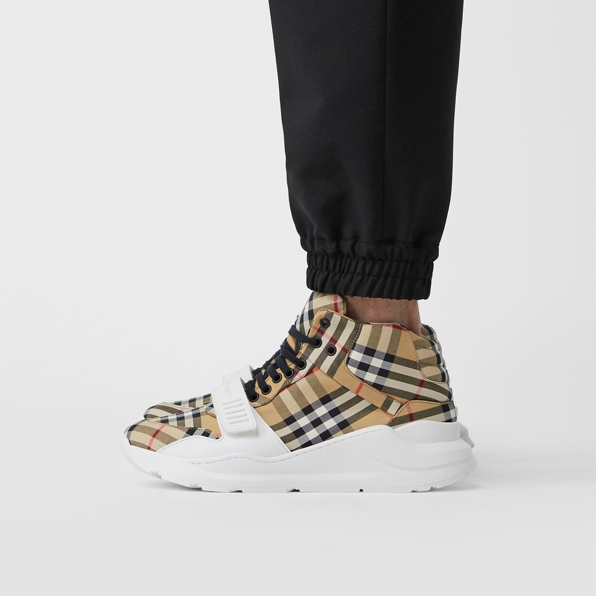 Vintage Check High-top Sneakers in Antique Yel/optc Wht - Men | Burberry United Kingdom - gallery image 2