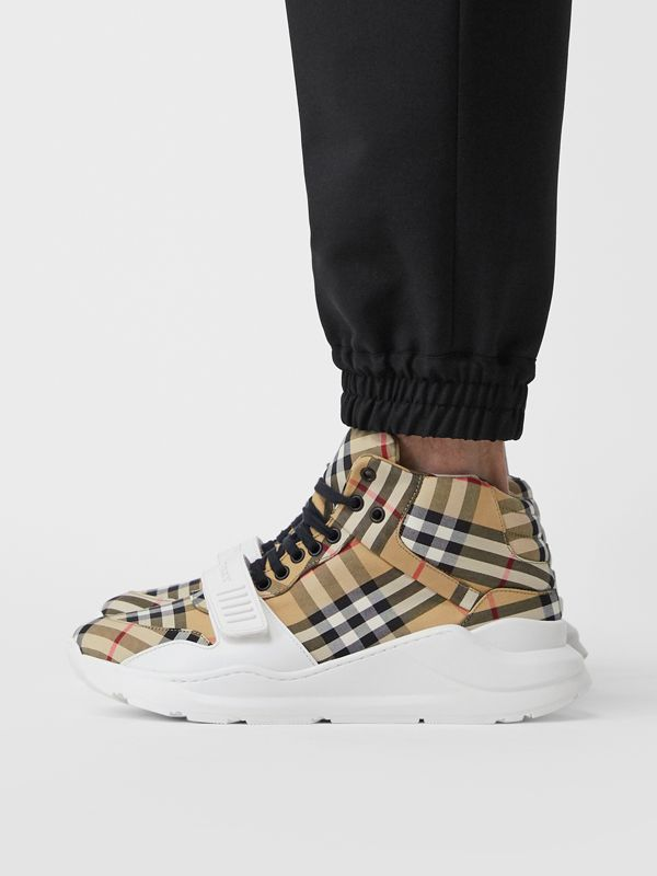 Vintage Check High-top Sneakers in Antique Yel/optc Wht - Men | Burberry United Kingdom - cell image 2