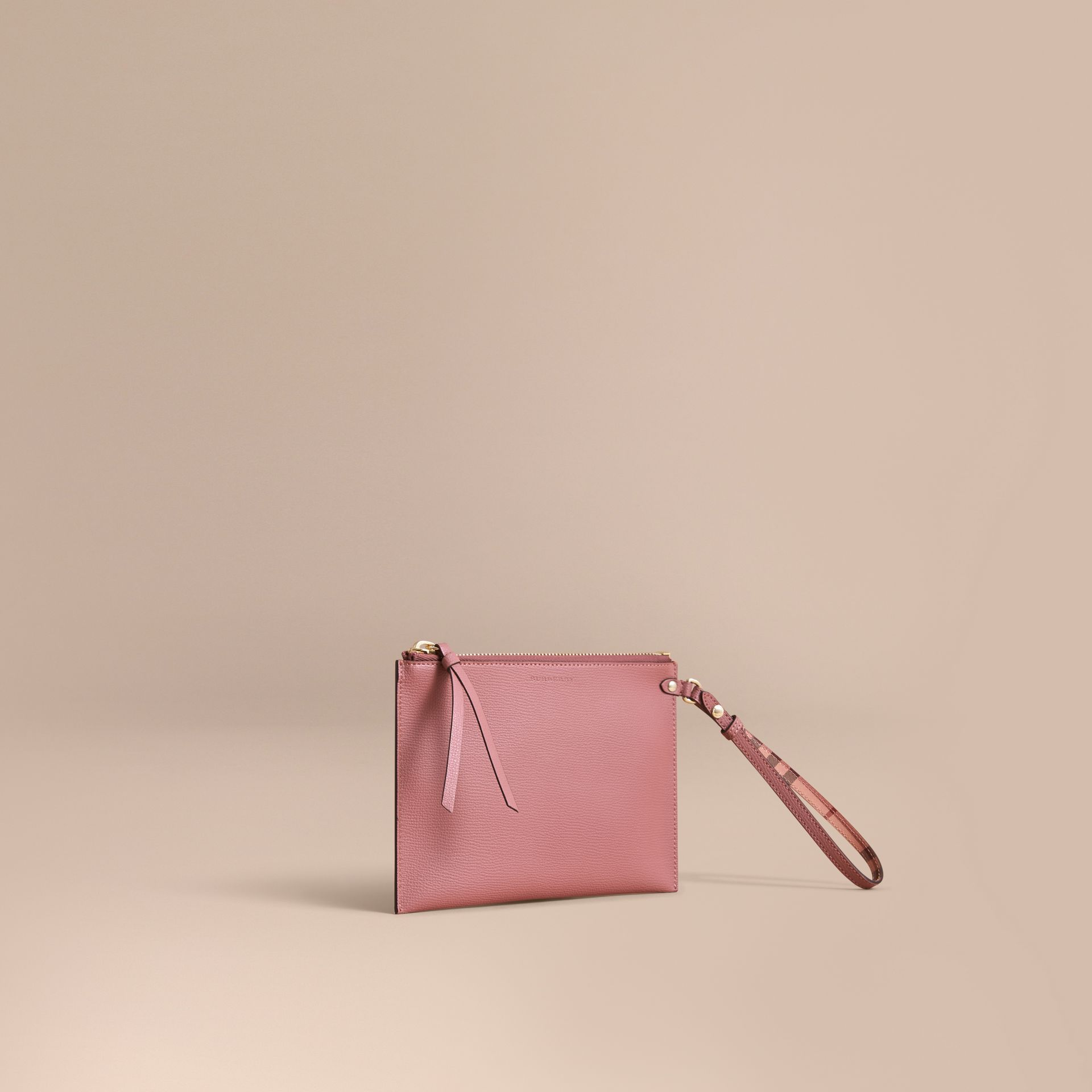 Haymarket Check and Leather Pouch in Light Elderberry - Women | Burberry - gallery image 1
