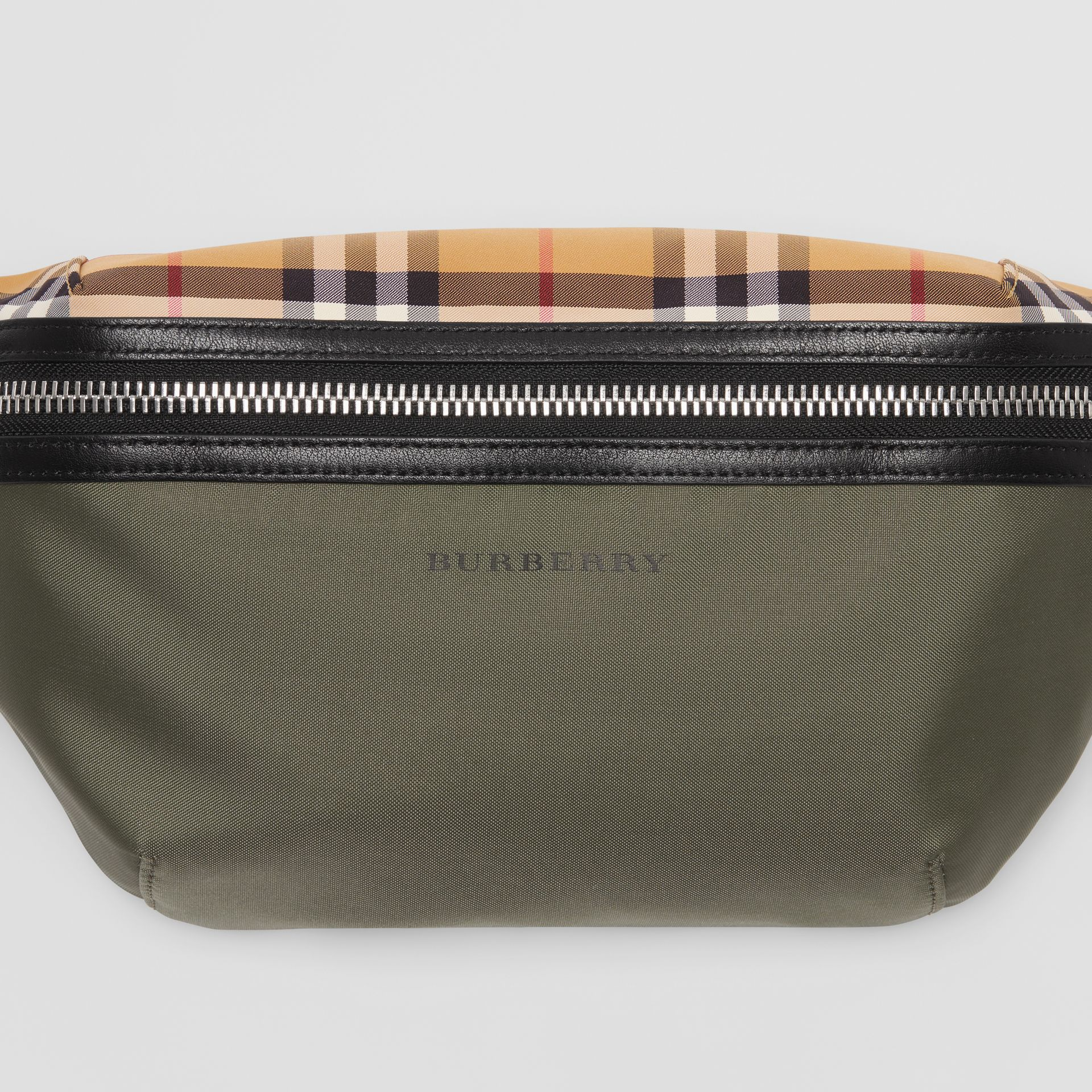 Medium Vintage Check and Nylon Bum Bag in Military Green | Burberry Australia - gallery image 1