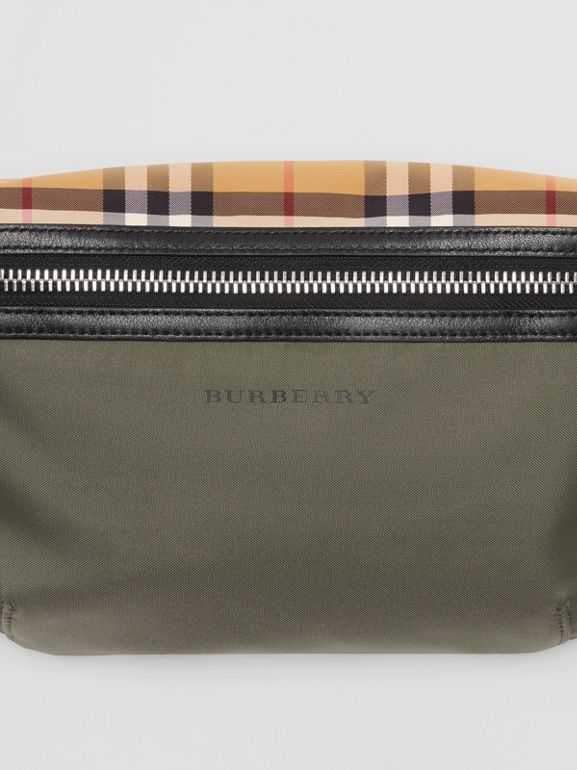 Medium Vintage Check and Nylon Bum Bag in Military Green | Burberry Australia - cell image 1