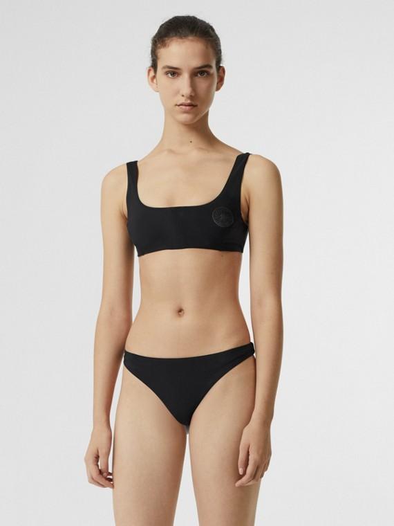 Bikini mit Frontreißverschluss und Ritteremblem (Schwarz)