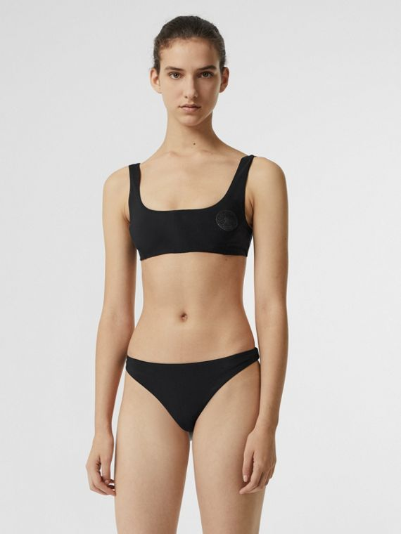 Crest Detail Zip-front Bikini in Black