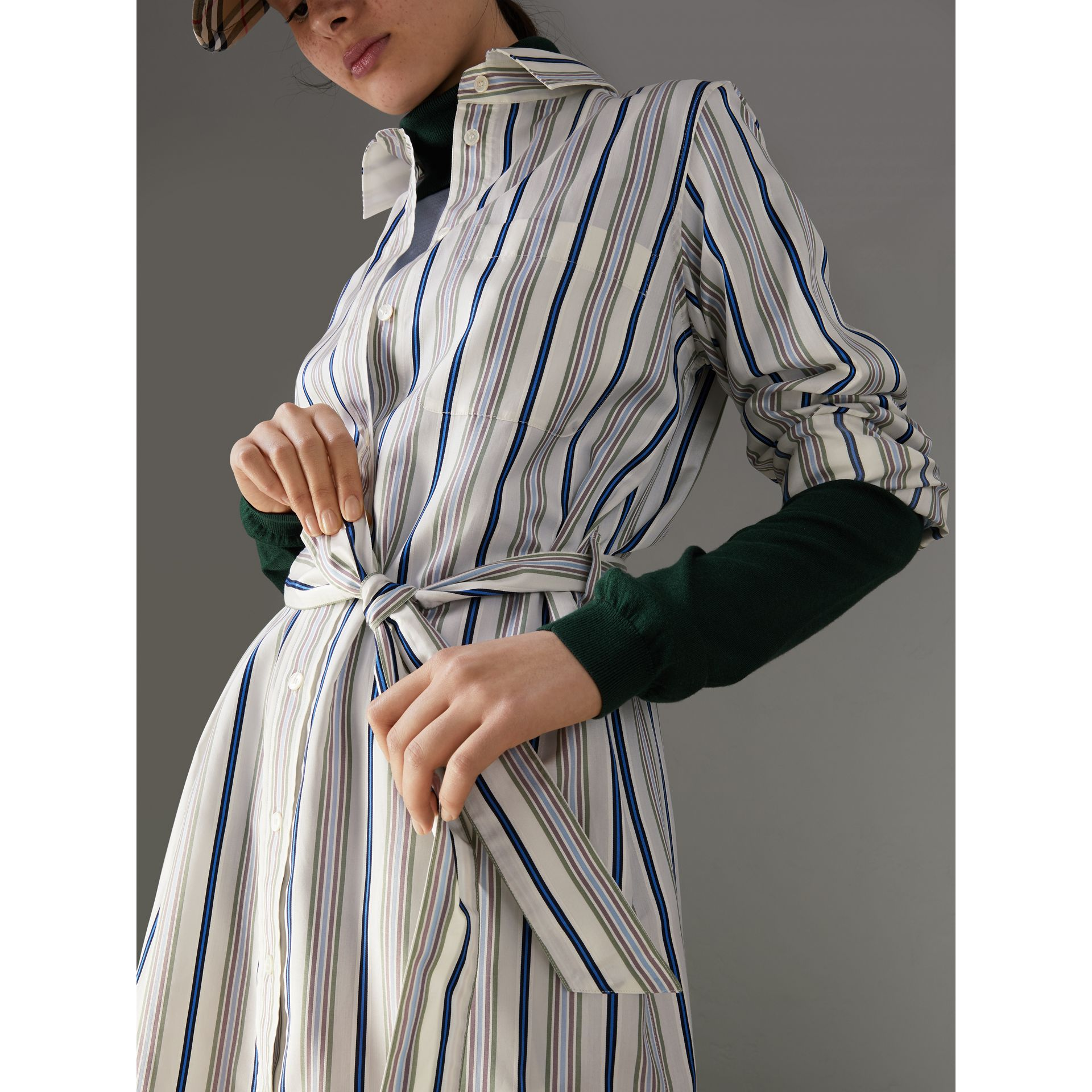Striped Silk Shirt Dress in Off White - Women | Burberry United States - gallery image 1
