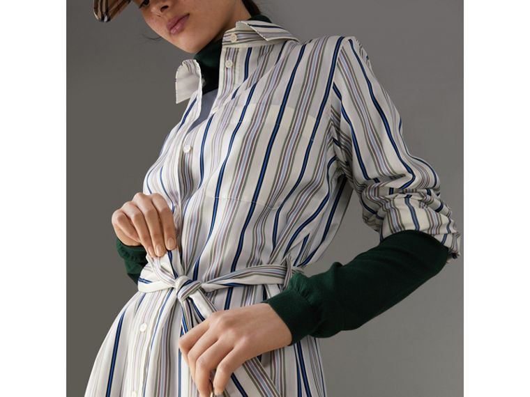 Striped Silk Shirt Dress in Off White - Women | Burberry - cell image 1