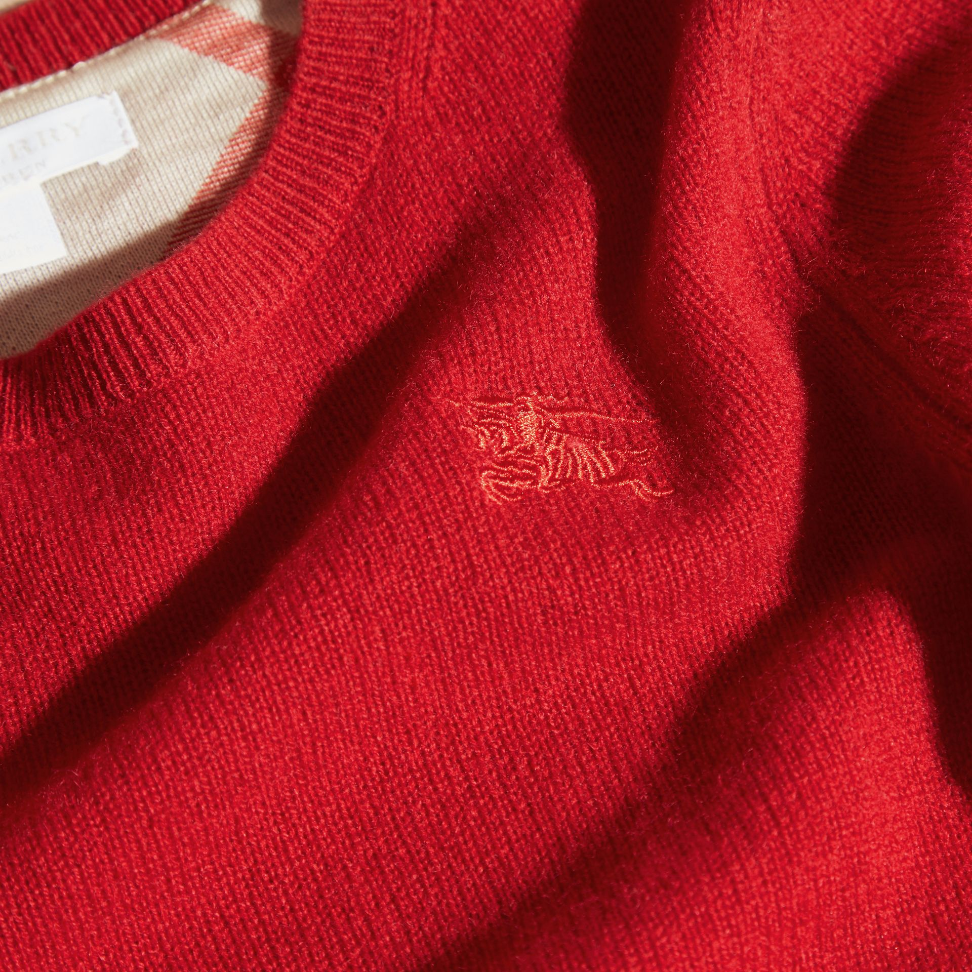 Check Elbow Patch Cashmere Sweater in Parade Red - Boy | Burberry - gallery image 2