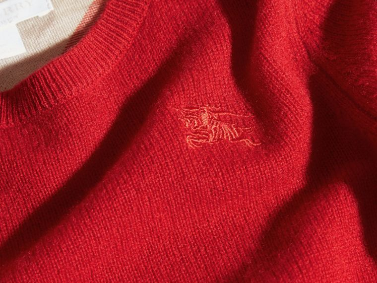 Check Elbow Patch Cashmere Sweater Parade Red - cell image 1
